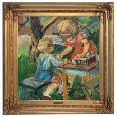 Original Oil on Canvas of Boy & Girl Playing Outdoors, signed Ludvig Jacobsen