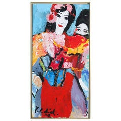 Contemporary Acrylic on Canvas Painting, Two Women, Signed by Yrsa Isabel Lind
