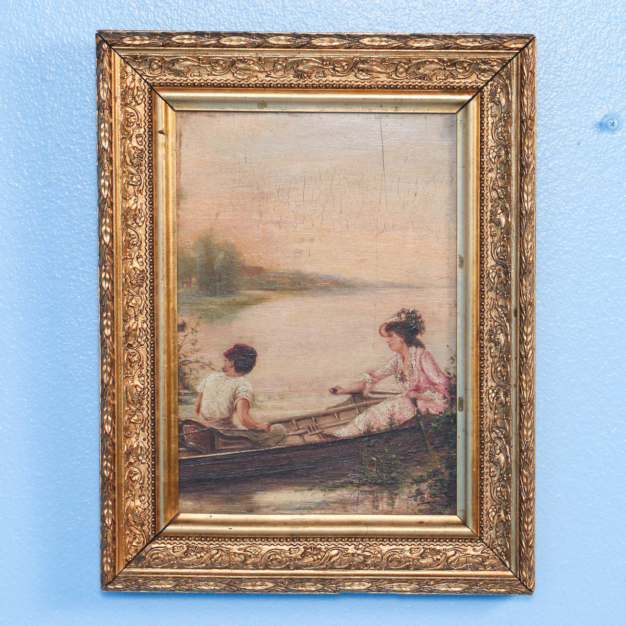 Pair of Oil on Canvas Paintings of Boating Couple and Woman on Shore For Sale 1