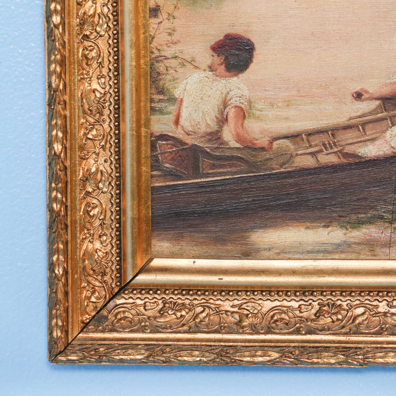 Pair of Oil on Canvas Paintings of Boating Couple and Woman on Shore For Sale 3