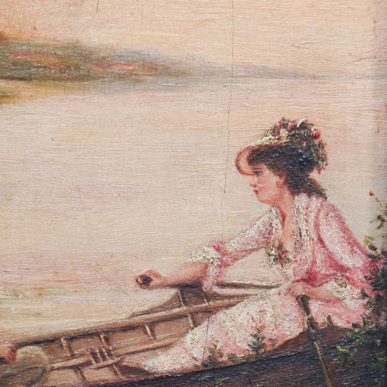 Pair of Oil on Canvas Paintings of Boating Couple and Woman on Shore For Sale 2