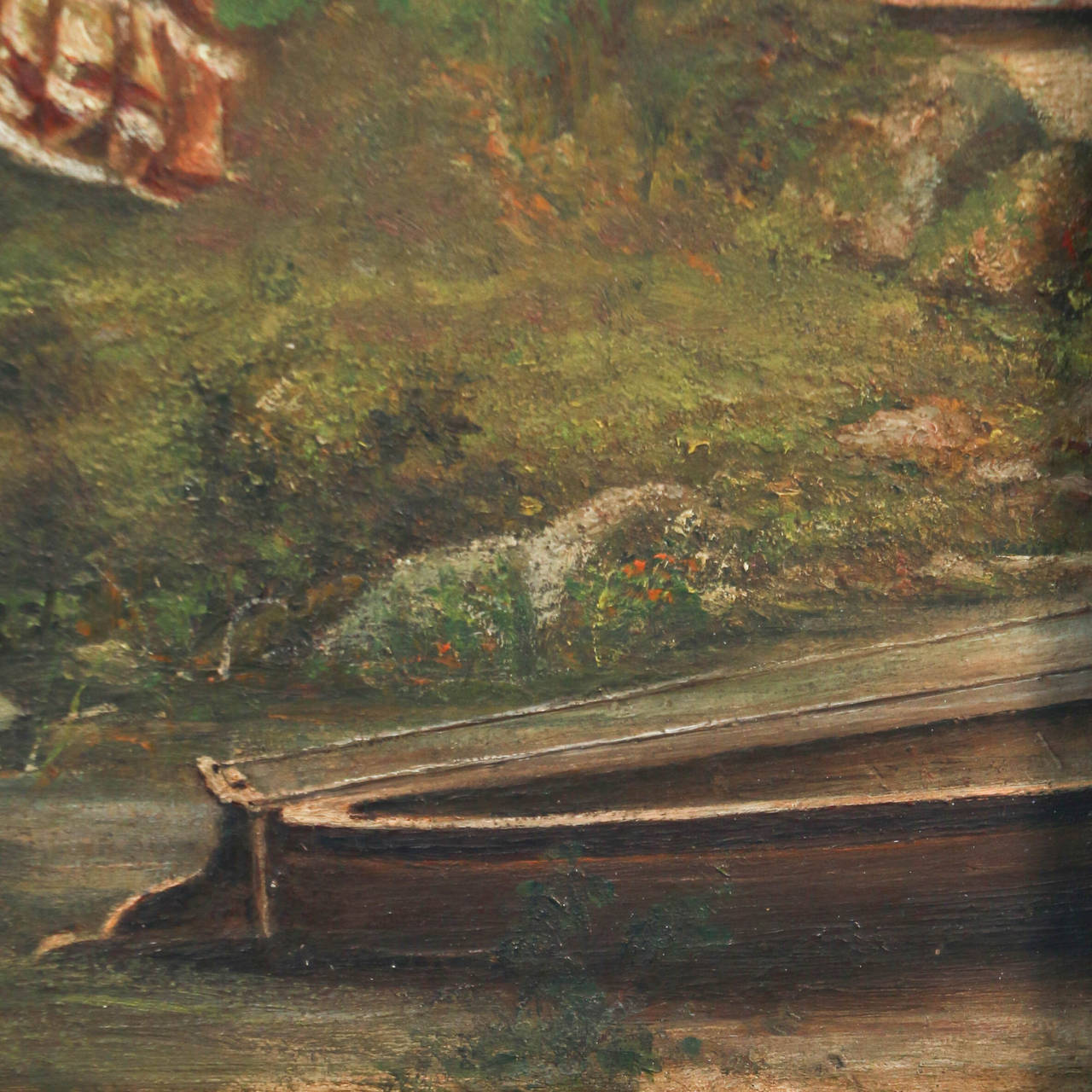 Pair of Oil on Canvas Paintings of Boating Couple and Woman on Shore In Good Condition For Sale In Round Top, TX
