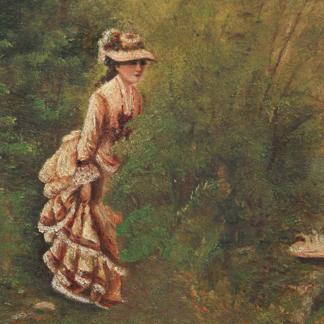 Swedish Pair of Oil on Canvas Paintings of Boating Couple and Woman on Shore For Sale