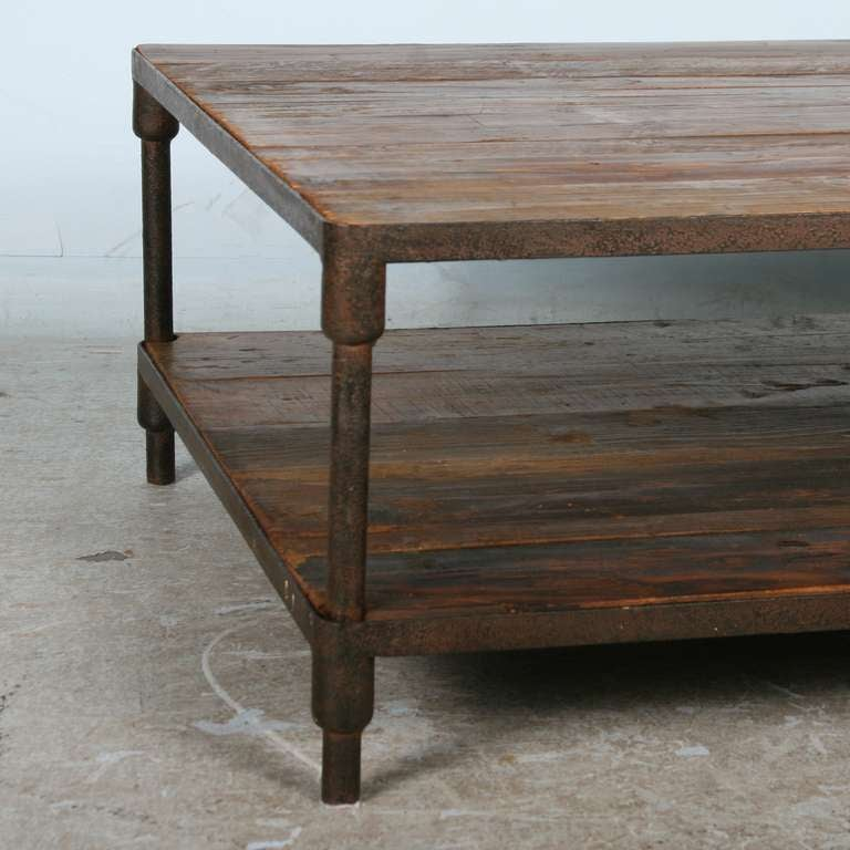Vintage Industrial Look Iron And Reclaimed Wood Coffee Table At 1stdibs