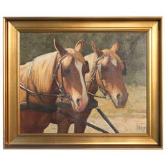 Antique Oil on Canvas Painting of Two Draft Horses, Signed Eilsberg