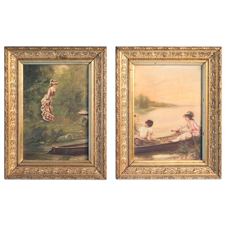 Pair of Oil on Canvas Paintings of Boating Couple and Woman on Shore For Sale