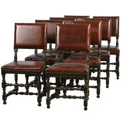 Antique Set of 8 Danish Baroque Side Chairs, Dining Room Chair Set