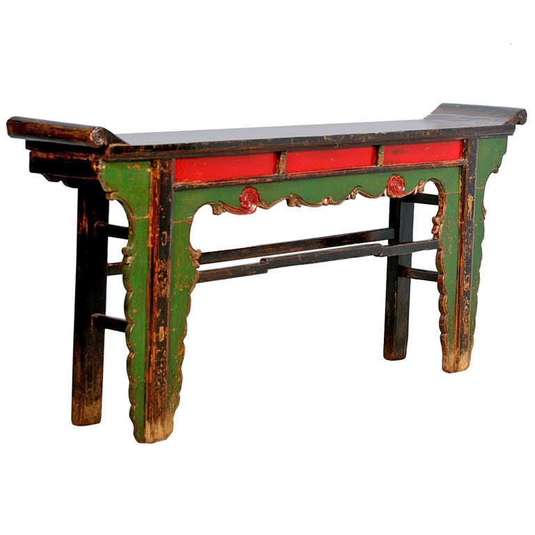 Ornate antique painted lacquered console table altar table china at 1stdibs - Ornate hall table ...