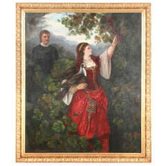 Original Oil Painting of Romantic Young Couple, circa 1800