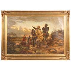 Large Framed Original Oil Painting of Knights on Horseback, Denmark