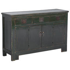 Antique Green Lacquered Chinese Sideboard, circa 1850