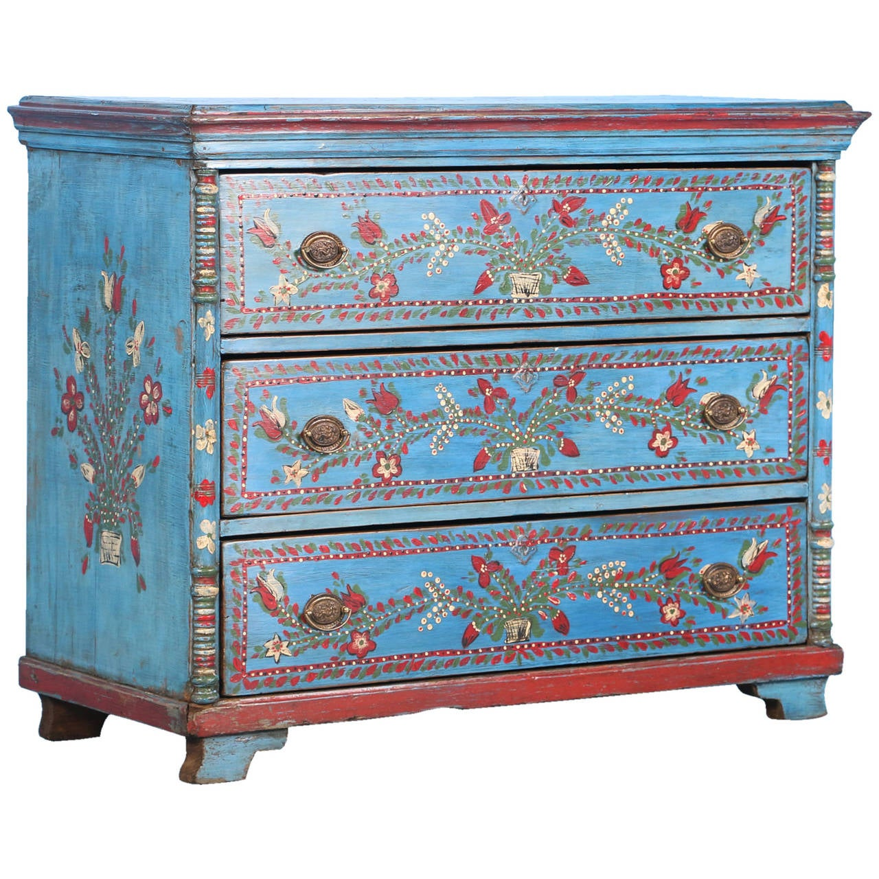 Antique Original Blue Painted Chest Of Three Drawers With Flowers, Circa  1880 For Sale