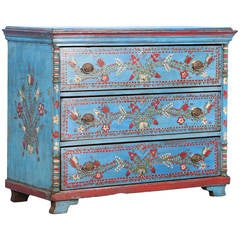 Antique Original Blue Painted Chest of Three Drawers with Flowers, circa 1880