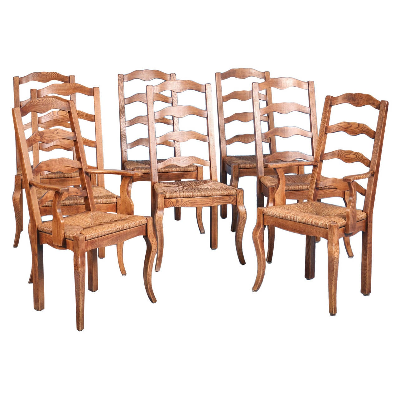 French Country Elm Wood and Rush Seat Dining Chairs Set