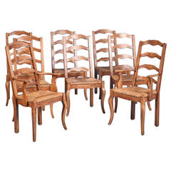 French Country Elm Wood and Rush Seat Dining Chairs, Set of Eight