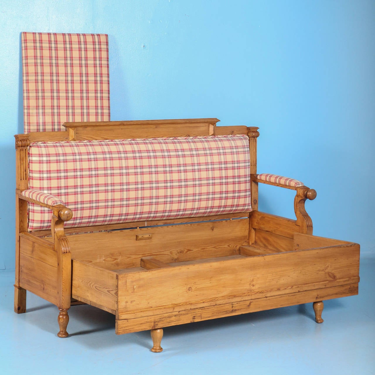 Antique Swedish Pine Bench with Upholstered Seat, circa 1890 In Good Condition For Sale In Denver, CO