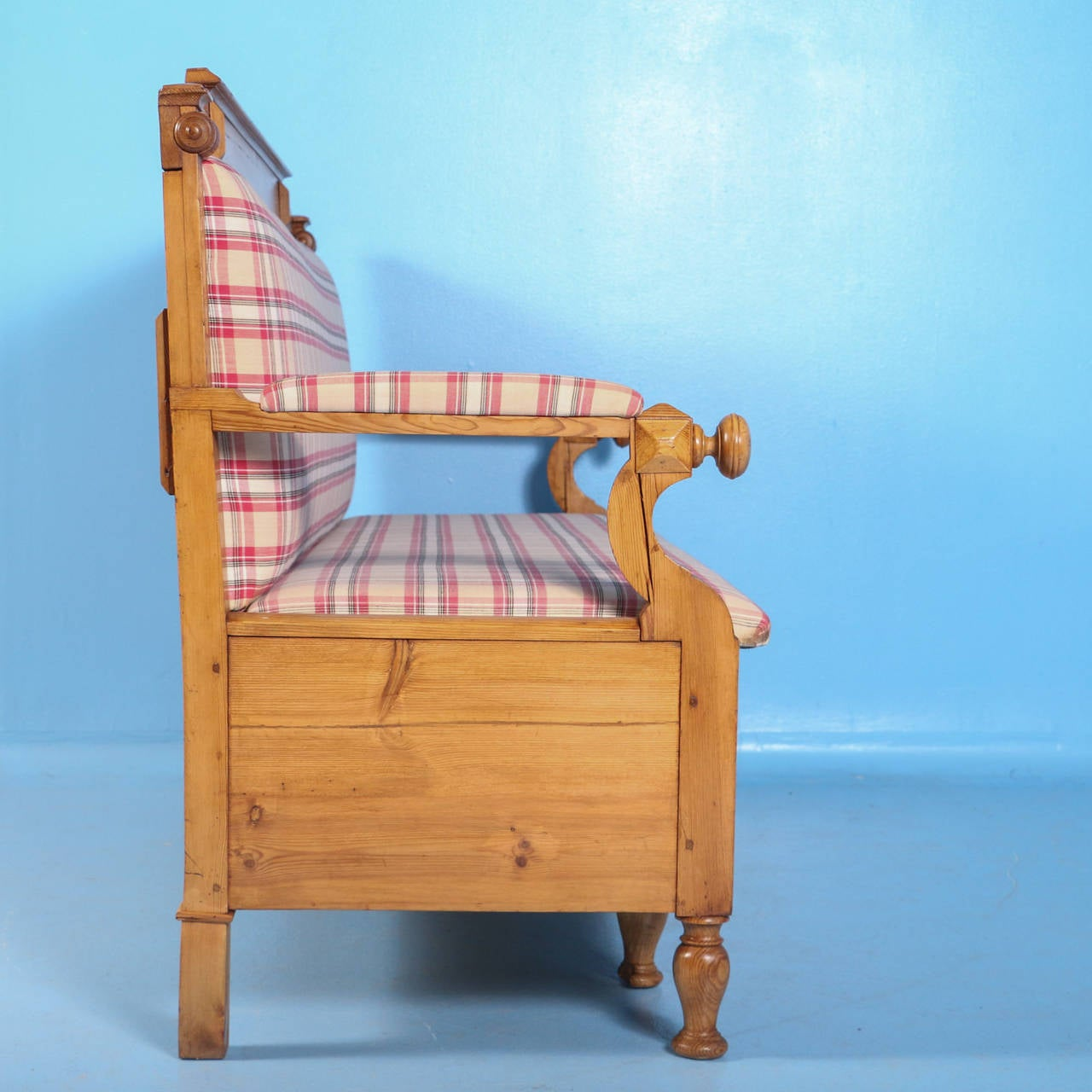 19th Century Antique Swedish Pine Bench with Upholstered Seat, circa 1890 For Sale