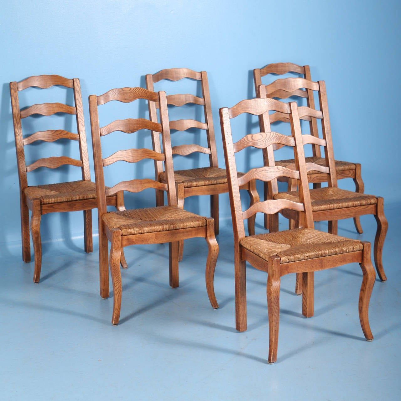 French Country Elm Wood and Rush Seat Dining Chairs, Set of Eight at ...
