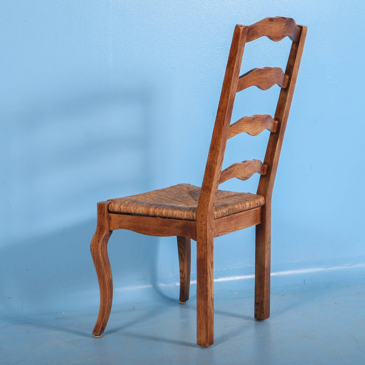 French Wooden Chairs ~ French country elm wood and rush seat dining chairs set