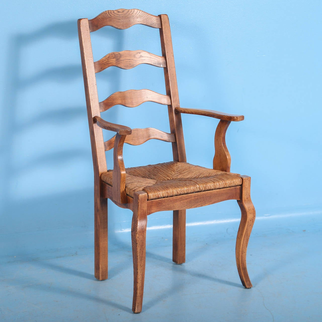 French Country Elm Wood and Rush Seat Dining Chairs, Set of Eight ...