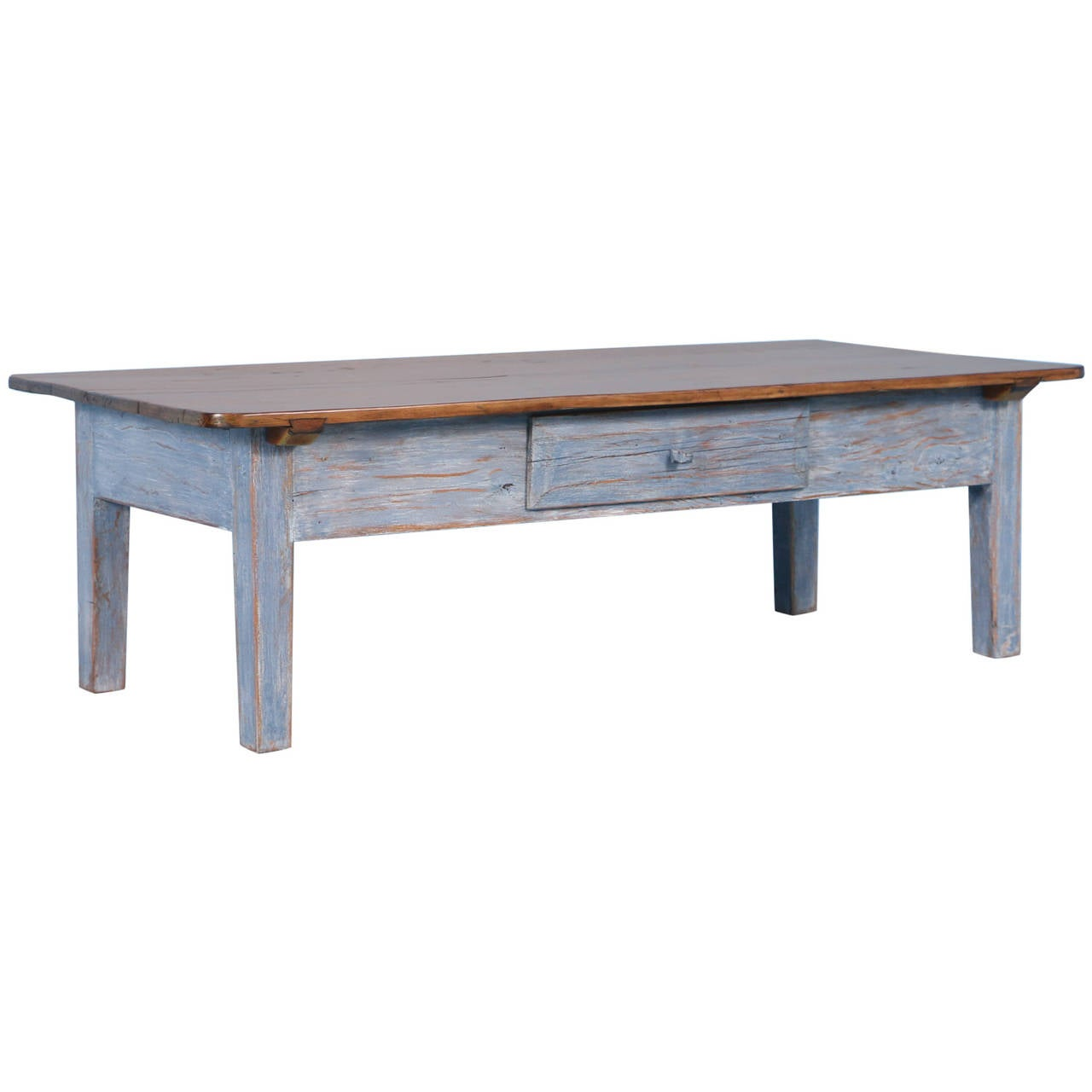 Antique Pine Coffee Tables: Antique Blue Swedish Pine Coffee Table, Circa 1860-1880 At
