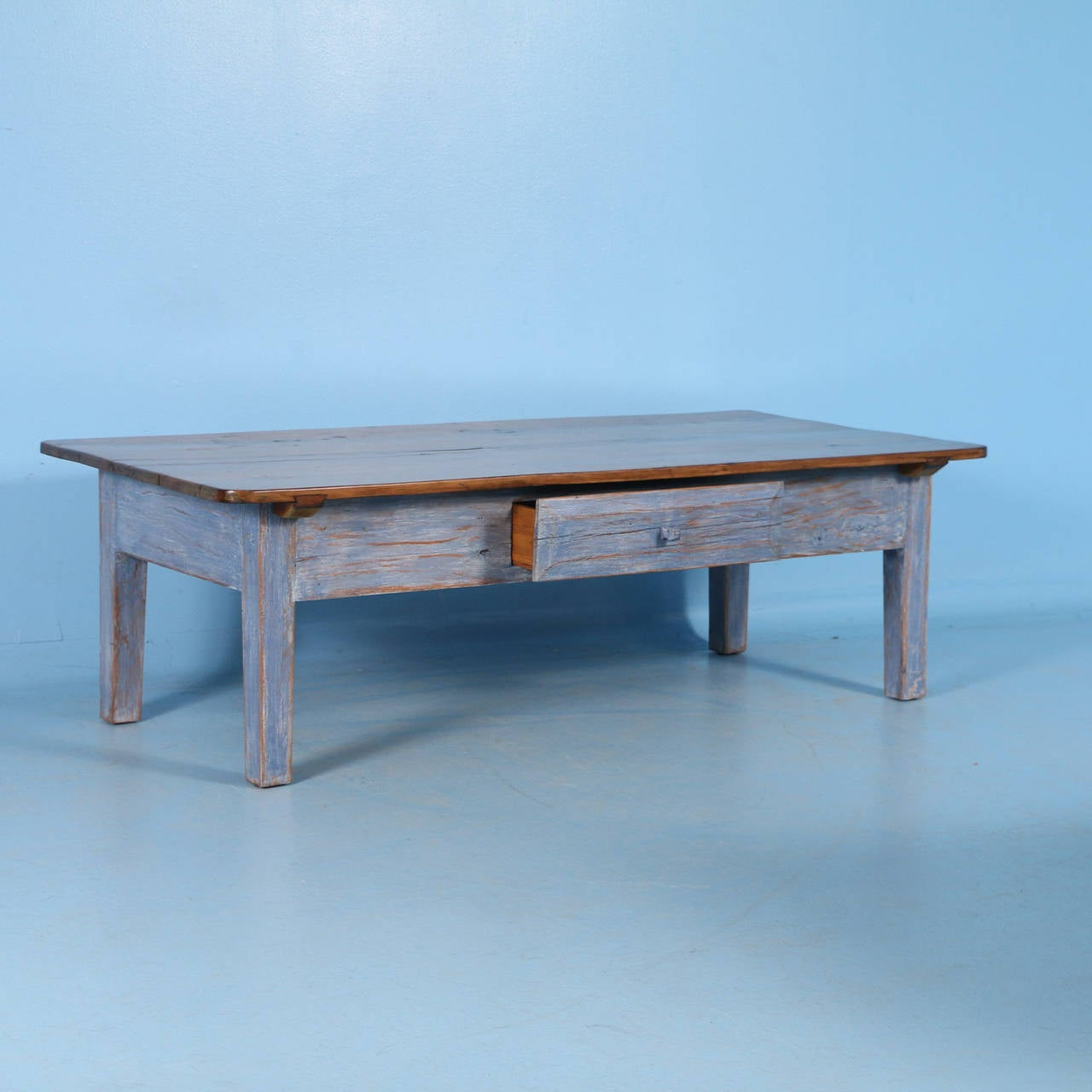 Antique blue swedish pine coffee table circa 1860 1880 at for Pine coffee table
