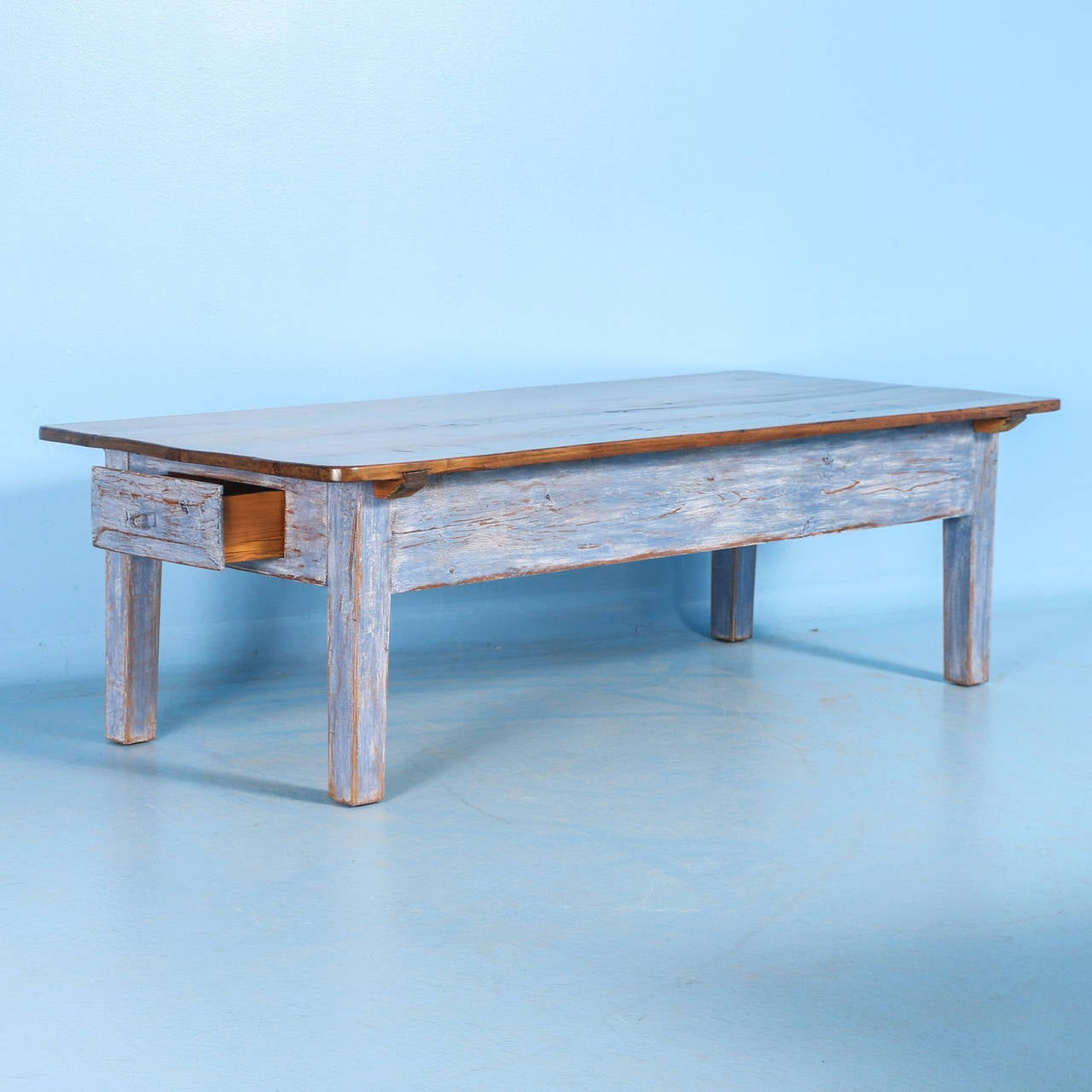Antique Blue Swedish Pine Coffee Table, Circa 1860-1880 At