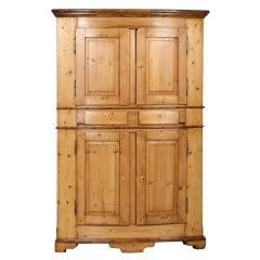 Large Swedish Pine Corner Cabinet