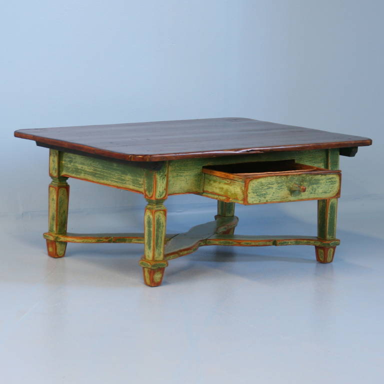 Antique Green Painted Pine Coffee Table Romania Circa 1860 1880 At 1stdibs