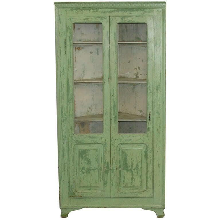 Antique Original Painted Green Corner Cupboard Sweden