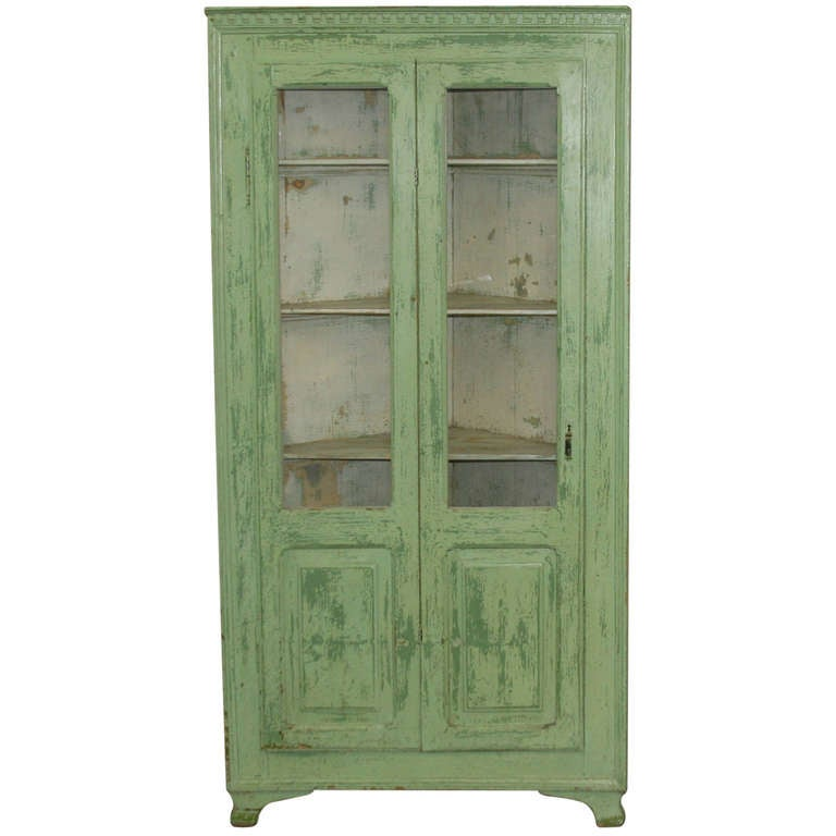 Antique Original Painted Green Corner Cupboard, Sweden Circa 1880 ...