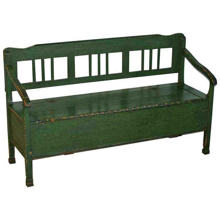 Antique Original Painted Green Bench With Storage