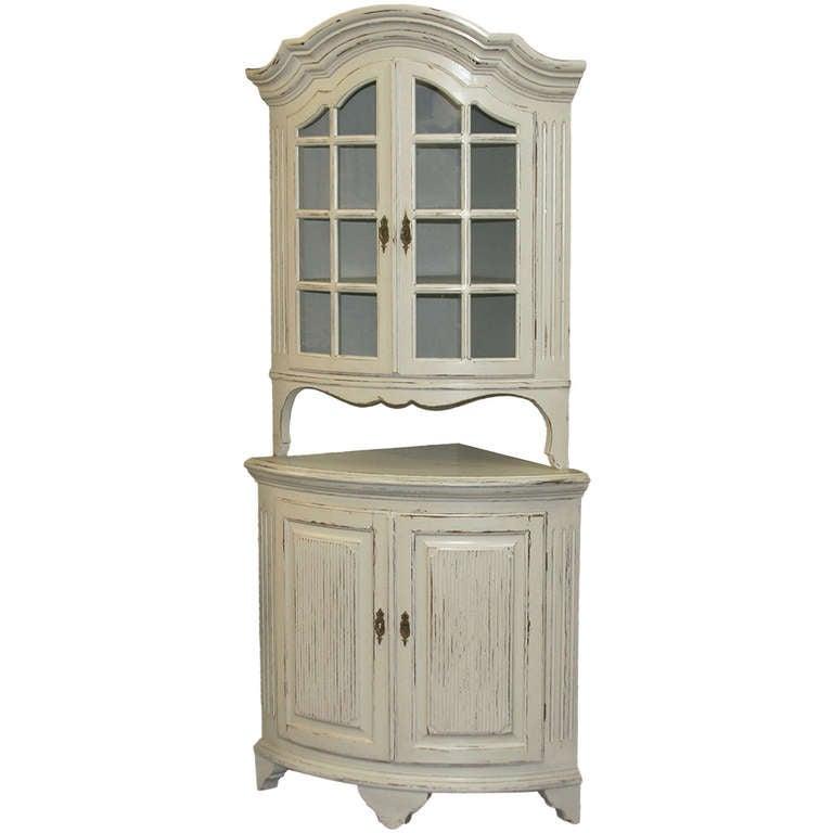 Antique Swedish White Bow Front Corner Cabinet, circa 1900 ...