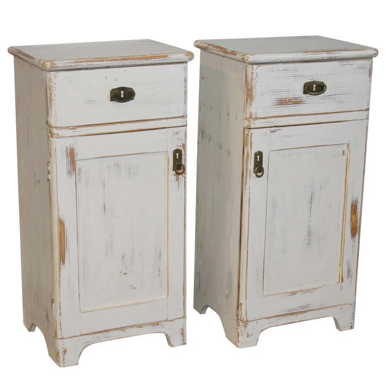 Pair Antique White Painted Small Nightstands Romania