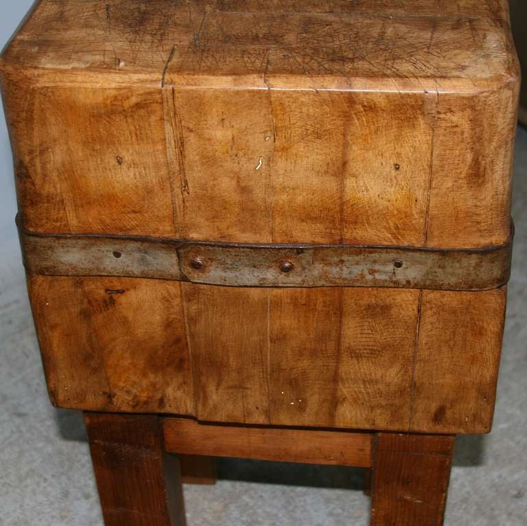Antique Vintage Small Swedish Butcher Block Circa 1920 At