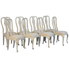 Antique Set of 8 White Dining Chairs, Sweden Circa 1890