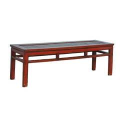 Antique Red Lacquered Chinese Bench with Removable Head Rest
