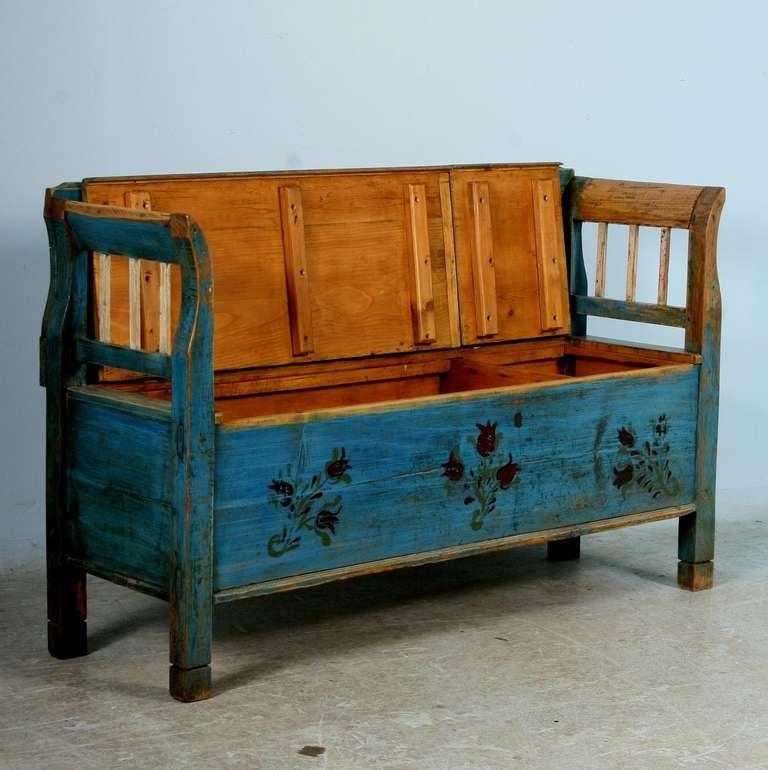 Antique Original Painted Small Romanian Bench With Storage