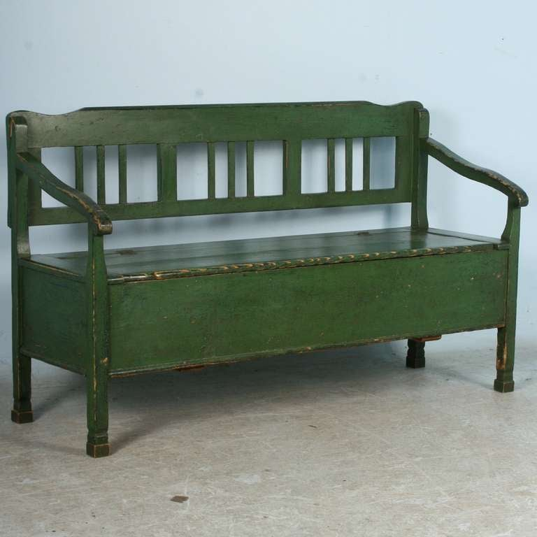 Antique Original Painted Green Bench With Storage Romanian Circa At 1stdibs
