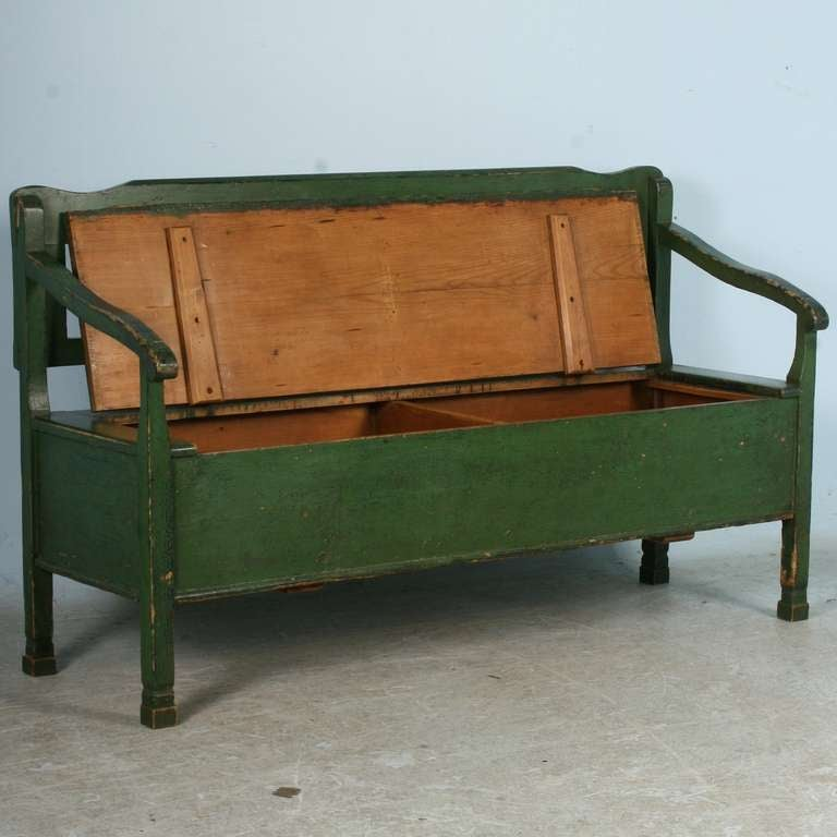 Marvelous Antique Original Painted Green Bench With Storage, Romanian Circa 3