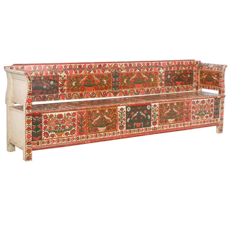 Antique Long Original Red Painted Floral Bench With Storage Romania Circa 1880 At 1stdibs