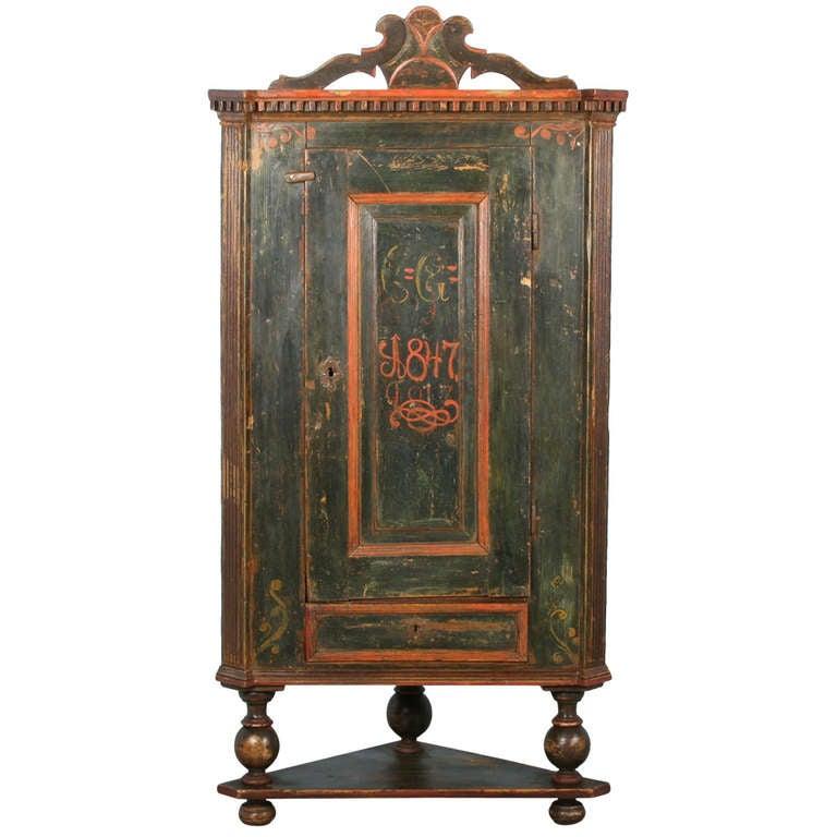 China Kitchen Austin Tx: Antique Original Painted Corner Cupboard Cabinet Dated