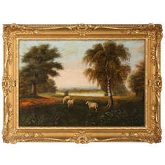 Original Framed Oil Pastoral Painting of Sheep Grazing Signed D. Normen