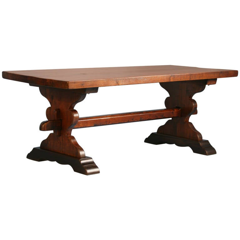 Antique French Farmhouse Dining Trestle Table, Circa 1910 1