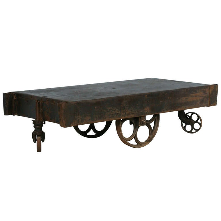 Vintage Industrial Metal Cart Coffee Table At 1stdibs