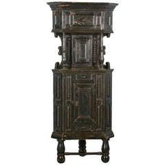 Antique Original Black Corner Cabinet Cupboard, Sweden circa 1840-60