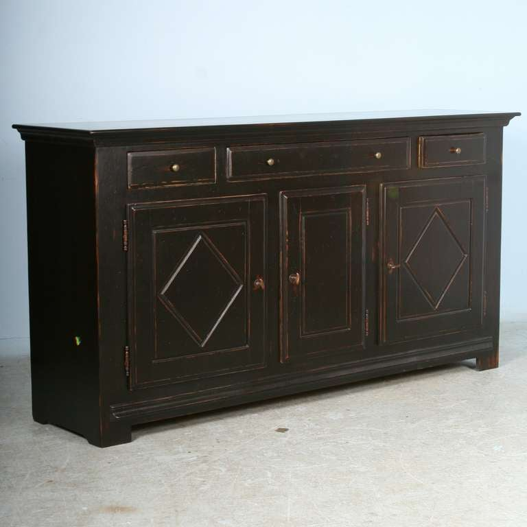 Large vintage black painted sideboard server buffet at 1stdibs for Painted buffet sideboard