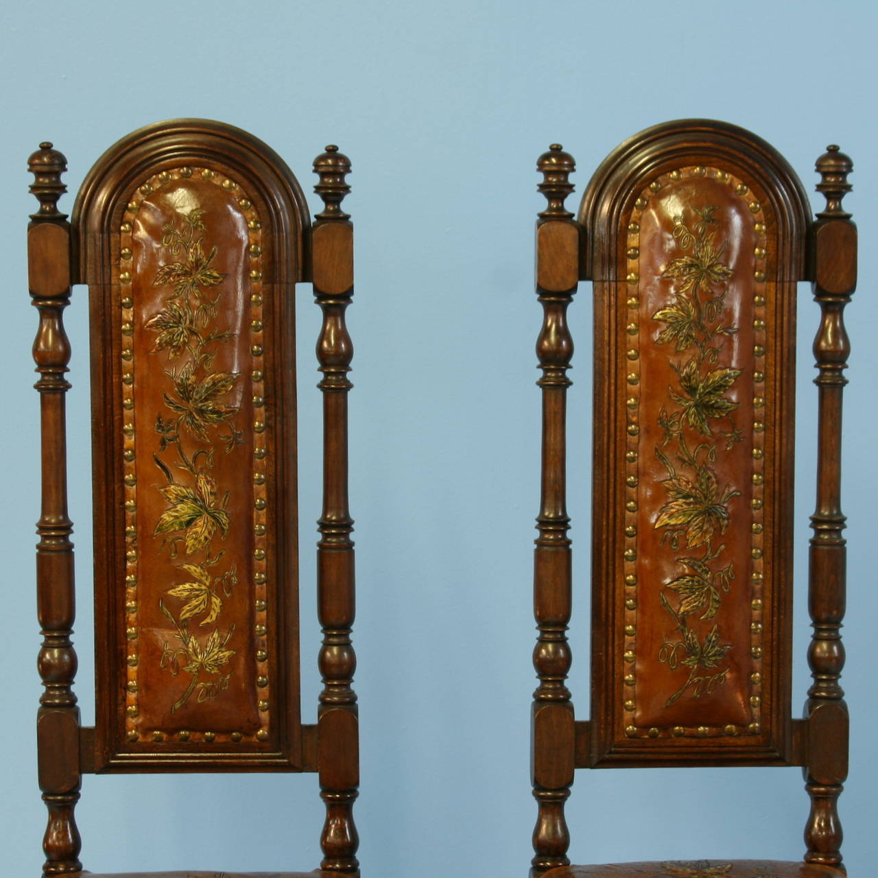High back antique chairs - Pair Antique Leather Embossed Painted High Back Chairs Denmark Circa 1850 2