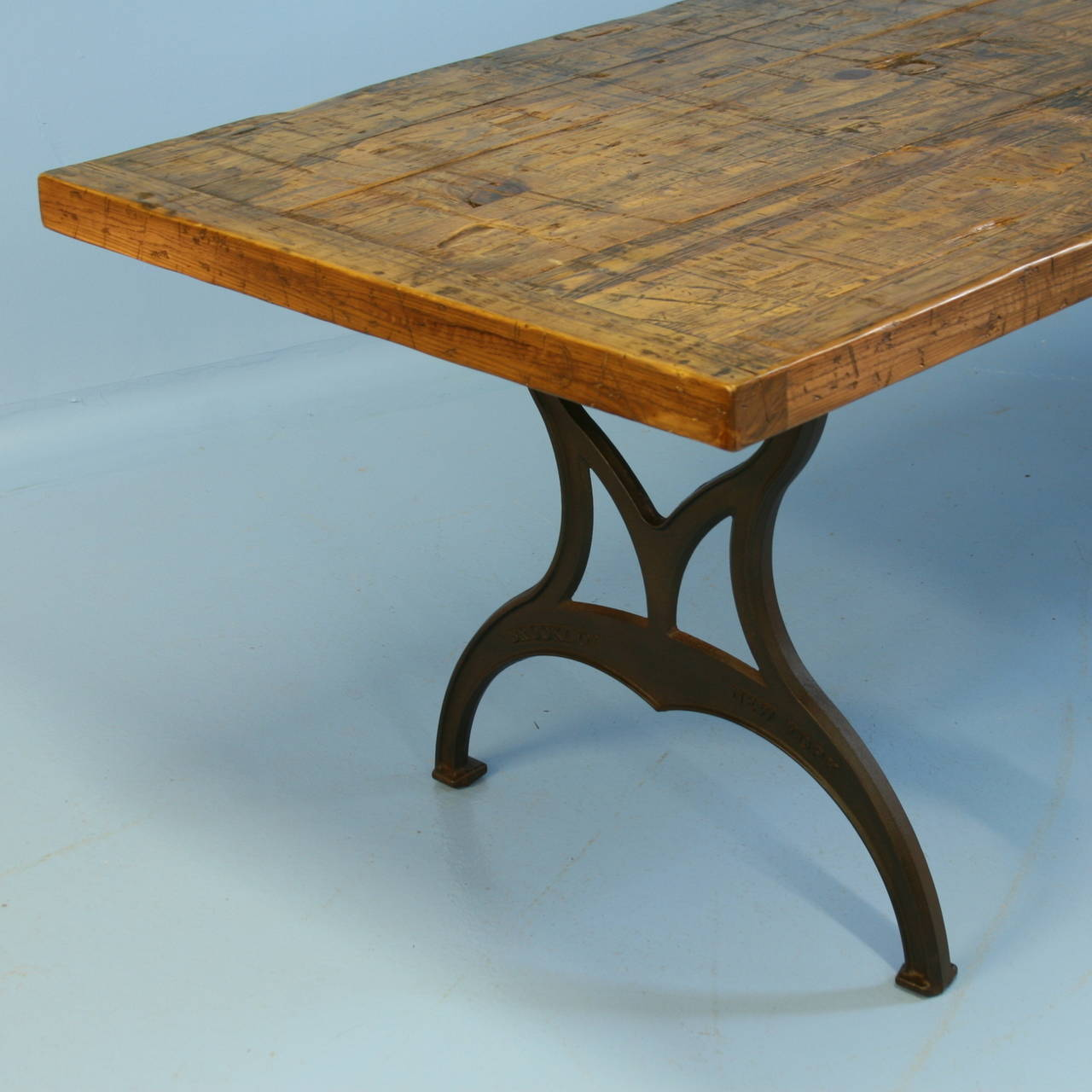 Large vintage industrial style table iron legs and for Wood table iron legs