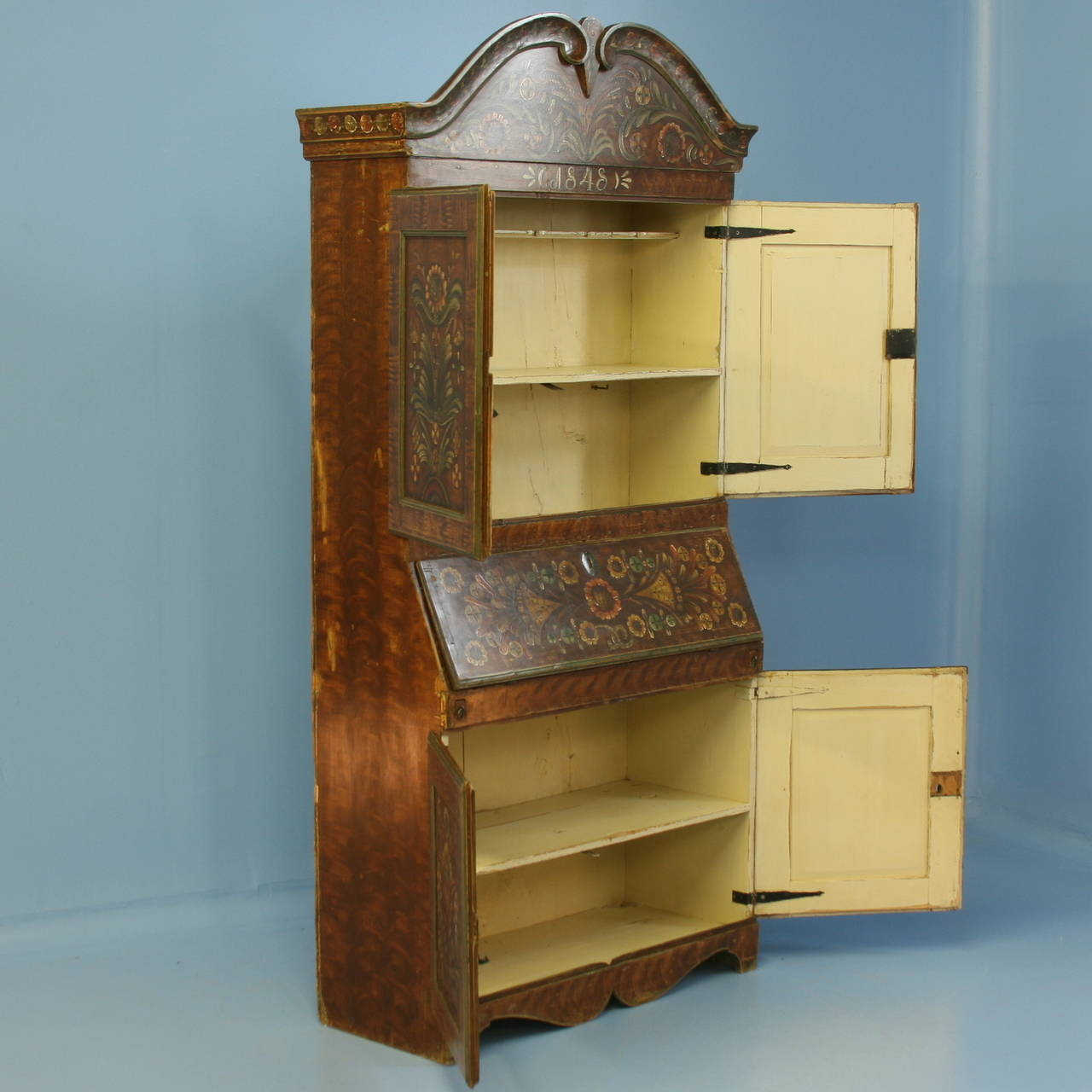 antique original painted swedish secretaire bureau dated 1848 at 1stdibs. Black Bedroom Furniture Sets. Home Design Ideas